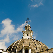 The domed roof of Iglesia de San Francisco, a Spanish colonial church in Antigua, Guatemala.