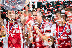 15-05-2019 NED: De Graafschap - Ajax, Doetinchem<br /> Round 34 / It wasn't really exciting anymore, but after the match against De Graafschap (1-4) it is official: Ajax is champion of the Netherlands / Daley Blind #17 of Ajax, Matthijs de Ligt #4 of Ajax, Dusan Tadic #10 of Ajax