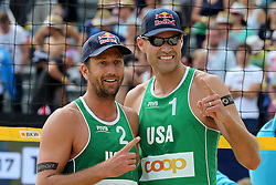 13.07.2014, Beach Village, Gstaad, SUI, FIVB Beach Volleyball Grand Slam Gstaad, im Bild Sean Rosenthal und Philip Dalhauser (USA) // during the FIVB Beach Volleyball Grand Slam Gstaad at the Beach Village in Gstaad, Switzerland on 2014/07/13. EXPA Pictures © 2014, PhotoCredit: EXPA/ Freshfocus/ Claude Diderich<br /> <br /> *****ATTENTION - for AUT, SLO, CRO, SRB, BIH, MAZ only*****