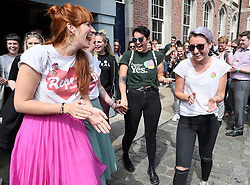 Members of the public arriving at Dublin Castle for the results of the referendum on the 8th Amendment of the Irish Constitution which prohibits abortions unless a mother's life is in danger. Picture date: Saturday May 26, 2018. See PA story IRISH Abortion. Photo credit should read: Brian Lawless/PA Wire