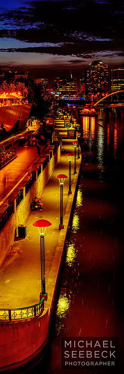 A high resolution, high quality vertical panoramic format photograph of the promenade along the Yarra River, taken at dusk.<br /> <br /> Code: VAVC0001