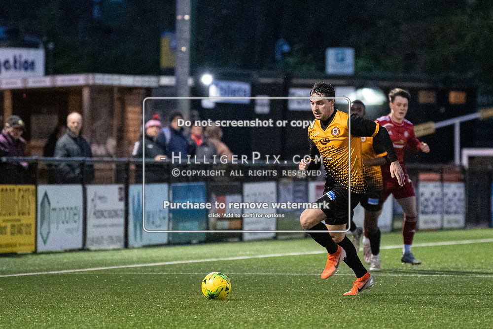 BROMLEY, UK - NOVEMBER 02: Charlie Allen, of Cray Wanderers FC, during the BetVictor Isthmian Premier League match between Cray Wanderers and Worthing at Hayes Lane on November 2, 2019 in Bromley, UK. <br /> (Photo: Jon Hilliger)