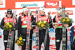 11.12.2011, Biathlonzentrum, Hochfilzen, AUT, E.ON IBU Weltcup, 2. Biathlon, Hochfilzen, Staffel Herren, im Bild Siegerteam Brattsveen Rune (Team NOR) Berger Lars (Team NOR) Svendsen Emil Hegle (Team NOR) Boe Tarjei (Team NOR) // during Team Relay E.ON IBU World Cup 2th Biathlon, Hochfilzen, Austria on 2011/12/11. EXPA Pictures © 2011. EXPA Pictures © 2011, PhotoCredit: EXPA/ nph/ Straubmeier..***** ATTENTION - OUT OF GER, CRO *****