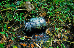 Oil barrel discarded in the jungle