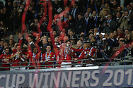 Manchester Utd players lift the trophy after their 3-2 win. EFL Cup Final 2017, Manchester Utd v Southampton at Wembley Stadium in London on Sunday 26th February 2017. pic by Andrew Orchard, Andrew Orchard sports photography.