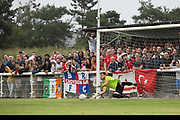 Bela Fejer Csongor saves a penalty for Karpatalya. Karpatalya (RED) beat Northern Cyprus (WHITE) 3 -2 in penalties during the Conifa Paddy Power World Football Cup finals on the 9th June 2018 at Queen Elizabeth II Stadium in Enfield Town in the United Kingdom. Team mates from the Turkish Republic of Northern Cyprus  take on the Hungarians in Ukraine for the CONIFA World Football Cup final. CONIFA is an international football tournament organised by CONIFA, an umbrella association for states, minorities, stateless peoples and regions unaffiliated with FIFA. (photo by Sam Mellish / In Pictures via Getty Images)