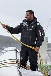 Mohsin Al Busaidi (OMA) smiles after beating the record of the Eckernförde race. Oman Sail's MOD70 Musandam races in the Eckernförde race at  Kiel week 2014, 21-06-2014, Kiel - Germany.