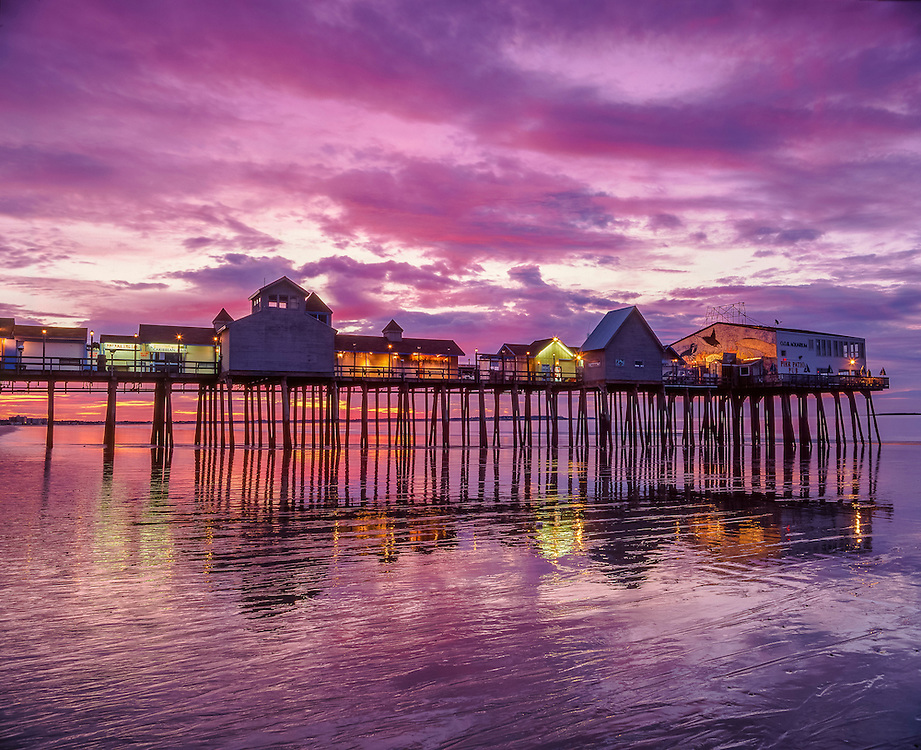 Old Orchard Beach Pier, dawn colors & tidal reflections, Old Orchard Beach, ME
