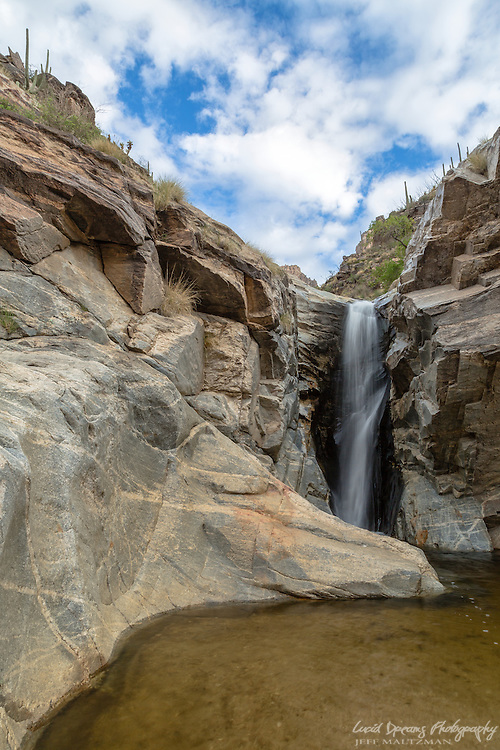One of the middle cascades at Seven Falls with a large swimming hole at its base.