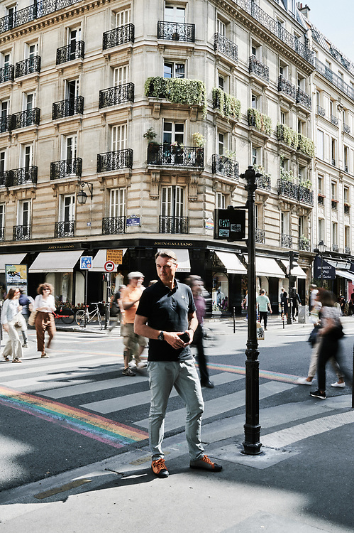 Laurens Van Den Acker, Chief Designer at Groupe Renault, posing at a crossroad between Rue Sainte-Croix-de-la-Bretonnerie and Rue des Archives. Paris, France. July 27, 2019.