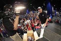 Dec 31, 2014; Atlanta , GA, USA; Chick-fil-A cow toys are tossed to fans at an event prior to the game between the TCU Horned Frogs and the Mississippi Rebels in the 2014 Peach Bowl at the Georgia Dome. Mandatory Credit: Paul Abell/CFA Peach Bowl via USA TODAY Sports