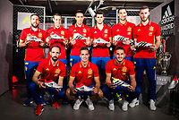 Left to the right, and up and down, Jordi Alba, Azpilicueta, Bruno, Morata, Rico, De Gea, Juanfran, Lucas Vazquez and Koke during the opening of the corner of the Spanish team in its new Adidas Store Gran Vía in Madrid. June 05 2016. (ALTERPHOTOS/Borja B.Hojas)
