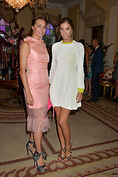 Left to right, YASMIN LE BON and AMBER LE BON at a party hosed by the US Ambassador to the UK Matthew Barzun, his wife Brooke Barzun and editor of UK Vogue Alexandra Shulman in association with J Crew to celebrate London Fashion Week held at Winfield House, Regent's Park, London on 16th September 2014.