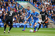 Peterborough United midfielder Joe Ward (15) surges forward during the EFL Sky Bet League 1 match between Peterborough United and Portsmouth at London Road, Peterborough, England on 15 September 2018.