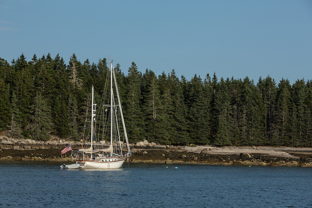 McGlathery Island, ME - 11 August 2014. The ketch Haiku, Sandwich, Mass., at anchor off McGlathery Island.