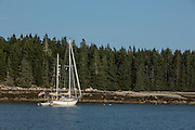McGlathery Island, ME - 11 August 2014. The ketch Haiku, Sandwich, Mass., at anchor off McGlathery Island.