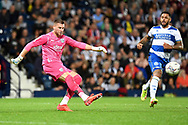 West Bromwich Albion goalkeeper Sam Johnstone (1) on defensive duties during the EFL Sky Bet Championship match between West Bromwich Albion and Queens Park Rangers at The Hawthorns, West Bromwich, England on 24 September 2021.
