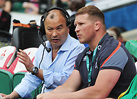 Rugby Union - 2017 Old Mutual Wealth Cup - England vs. Barbarians<br /> <br /> England head coach Eddie Jones talks with England Captain Dylan Hartley, at Twickenham.<br /> <br /> COLORSPORT/ANDREW COWIE
