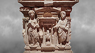 """Roman relief sculpted sarcophagus of Domitias Julianus and Domita Philiska, 2nd century AD, Perge. Antalya Archaeology Museum, Turkey.<br /> <br /> <br /> it is from the group of tombs classified as. """"Columned Sarcophagi of Asia Minor"""". <br /> The lid of the sarcophagus is sculpted into the form of a """"Kline"""" style Roman couch on which lie Julianus &  Philiska. This type of Sarcophagus is also known as a Sydemara Type of Tomb..<br /> <br /> If you prefer to buy from our ALAMY STOCK LIBRARY page at https://www.alamy.com/portfolio/paul-williams-funkystock/greco-roman-sculptures.html . Type -    Antalya    - into LOWER SEARCH WITHIN GALLERY box - Refine search by adding a subject, place, background colour, etc.<br /> <br /> Visit our ROMAN WORLD PHOTO COLLECTIONS for more photos to download or buy as wall art prints https://funkystock.photoshelter.com/gallery-collection/The-Romans-Art-Artefacts-Antiquities-Historic-Sites-Pictures-Images/C0000r2uLJJo9_s0"""