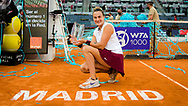 Aryna Sabalenka of Belarus with the champions trophy after winning the final of the Mutua Madrid Open 2021, Masters 1000 tennis tournament on May 8, 2021 at La Caja Magica in Madrid, Spain - Photo Rob Prange / Spain ProSportsImages / DPPI / ProSportsImages / DPPI