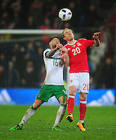 Wales' Jonathan Williams vies for possession with Northern Ireland's Oliver Norwood<br /> <br /> Photographer Kevin Barnes/CameraSport<br /> <br /> Football - International Friendly - Wales v Northern Ireland - Thursday 24th March 2016  - Cardiff City Stadium - Cardiff<br /> <br /> © CameraSport - 43 Linden Ave. Countesthorpe. Leicester. England. LE8 5PG - Tel: +44 (0) 116 277 4147 - admin@camerasport.com - www.camerasport.com