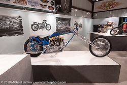 Jack Deagazio's Tymeless 1982 Harley-Davidson XLCH Sportster Digger on display in the What's the Skinny Exhibition (2019 iteration of the Motorcycles as Art annual series) at the Sturgis Buffalo Chip during the Sturgis Black Hills Motorcycle Rally. SD, USA. Friday, August 9, 2019. Photography ©2019 Michael Lichter.