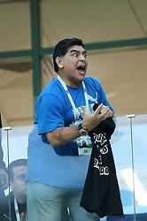 June 21, 2018 - Nizhny Novgorod, Russia - Group D Argentina v Croazia - FIFA World Cup Russia 2018.Former Argentina player and captain Diego Armando Maradona in the stands at Nizhny Novgorod Stadium, Russia on June 21, 2018. (Credit Image: © Matteo Ciambelli/NurPhoto via ZUMA Press)