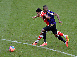 Bristol City's Korey Smith battles for the ball with West Ham's Enner Valencia - Photo mandatory by-line: Alex James/JMP - Mobile: 07966 386802 - 25/01/2015 - SPORT - Football - Bristol - Ashton Gate - Bristol City v West Ham United - FA Cup Fourth Round