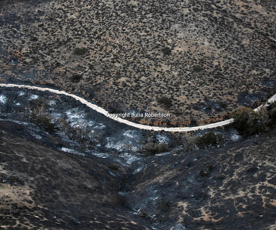 AErial view of Wildfire  destructive aftermath in southern california