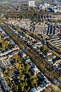 Nederland, Utrecht, Utrecht, 07-02-2018; Maliebaan in de wijk Buiten Wittevrouwen.<br /> Stately avenue Maliebaan.<br /> <br /> luchtfoto (toeslag op standard tarieven);<br /> aerial photo (additional fee required);<br /> copyright foto/photo Siebe Swart