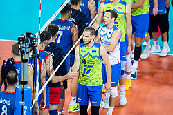Tine Urnaut of Slovenia shaking hand with Serbian player during friendly volleyball match between Slovenia and Serbia in Arena Stozice on 2nd of September, 2019, Ljubljana, Slovenia. Photo by Grega Valancic / Sportida