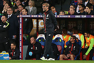 Jurgen Klopp, the Liverpool manager shouting from the dugout. Premier League match, Crystal Palace v Liverpool at Selhurst Park in London on Saturday 29th October 2016.<br /> pic by John Patrick Fletcher, Andrew Orchard sports photography.