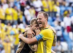 June 18, 2018 - Nizhny Novgorod, Russia - John Guidetti, Andreas Granqvist..2018 FIFA World CUP, Sweden - South Korea, 1-0, Nizhny Novgorod Stadium, Russia, 2018-06-18..(c) ORRE PONTUS  / Aftonbladet / IBL BildbyrÃ¥....* * * EXPRESSEN OUT * * *....AFTONBLADET / 85527 *** Local Caption  (Credit Image: © Orre Pontus/Aftonbladet/IBL via ZUMA Wire)