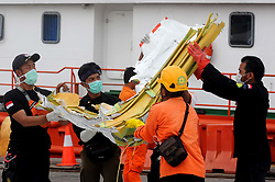 November 3, 2018 - Jakarta. Indonesia - Members of the Indonesian Search and Rescue (SAR) team bring debris of Lion Air JT 610 at Tanjung Priok Port, Jakarta. Indonesia. (Credit Image: © Agung Kuncahya B/Xinhua via ZUMA Wire)
