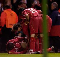 Photo: Jed Wee.<br />Liverpool v Anderlecht. UEFA Champions League.<br />01/11/2005.<br /><br />Liverpool mob goalscorer Djibril Cisse.