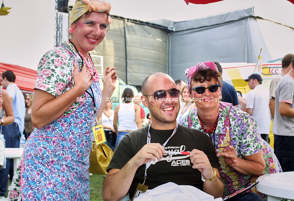 PJ Ellis from Big Brother series 3 with The Tea Ladies, V2002, Hylands Park, Chelmsford, Essex, Britain - 18 August 2002