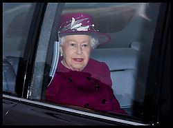 December 30, 2018 - Sandringham, United Kingdom - QUEEN ELIZABETH arriving for a church service in Sandringham, Norfolk, United Kingdom. (Credit Image: © Stephen Lock/i-Images via ZUMA Press)