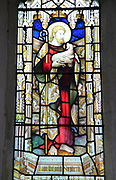 Good Shepherd stained glass window Church of Saint Mary, Coddenham, Suffolk, England, UK