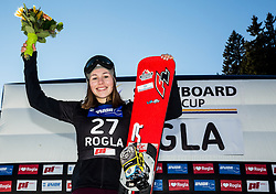 Second placed Carolin Langenhorst (GER) celebrates at trophy ceremony after Final Run at Women's Parallel Giant Slalom at FIS Snowboard World Cup Rogla 2017, on January 28, 2017 at Course Jasa, Rogla, Slovenia. Photo by Vid Ponikvar / Sportida