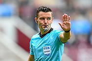 Referee Nick Walsh during the Cinch SPFL Premiership match between Heart of Midlothian and Hibernian at Tynecastle Park, Edinburgh, Scotland on 12 September 2021.
