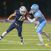 The King's Academy #12 Zach Lewman vs Hillsdale in a Peninsula-Ocean Football Game at The King's Academy, Sunnyvale CA on 9/28/18. (Photograph by Bill Gerth)(TKA 47 Hillsdale 0)