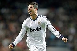 01-12-2012 VOETBAL: REAL MADRID - ATLETICO MADRID: MADRID<br /> Cristiano Ronaldo celebrates<br /> ***NETHERLANDS ONLY***<br /> ©2012-FotoHoogendoorn.nl