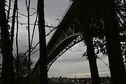 The nearly 3,000-foot-long Aurora Bridge looms high above Seattle's Fremont neighborhood. (Ken Lambert/The Seattle Times)