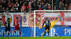 SALZBURG, AUSTRIA - Tuesday, December 10, 2019: FC Salzburg's goalkeeper Cican Stankovic makes a save during the final UEFA Champions League Group E match between FC Salzburg and Liverpool FC at the Red Bull Arena. (Pic by David Rawcliffe/Propaganda)