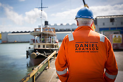 """© Licensed to London News Pictures. 04/05/2016. Birkenhead UK. Picture shows the boilers on the Daniel Adamson working for the first time in 30 years at Camel Laird docks. The Daniel Adamson steam boat has been bought back to operational service after a £5M restoration. The coal fired steam tug is the last surviving steam powered tug built on the Mersey and is believed to be the oldest operational Mersey built ship in the world. The """"Danny"""" (originally named the Ralph Brocklebank) was built at Camel Laird ship yard in Birkenhead & launched in 1903. She worked the canal's & carried passengers across the Mersey & during WW1 had a stint working for the Royal Navy in Liverpool. The """"Danny"""" was refitted in the 30's in an art deco style. Withdrawn from service in 1984 by 2014 she was due for scrapping until Mersey tug skipper Dan Cross bought her for £1 and the campaign to save her was underway. Photo credit: Andrew McCaren/LNP ** More information available here http://tinyurl.com/jsucxaq **"""