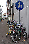 Amsterdam, Netherlands. Bicycles in a pedestrian street