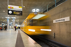 train at platform at Bundestag subway station in Berlin Germany