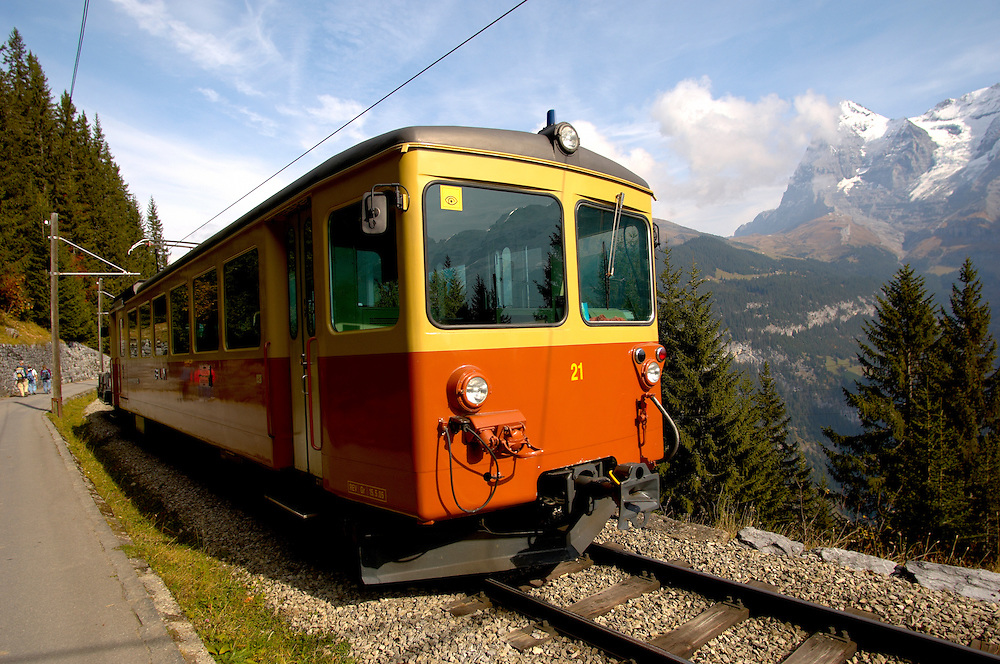 Murren Train - Bernese Oberland Alps - Switzerland .<br /> <br /> Visit our SWITZERLAND  & ALPS PHOTO COLLECTIONS for more  photos  to browse of  download or buy as prints https://funkystock.photoshelter.com/gallery-collection/Pictures-Images-of-Switzerland-Photos-of-Swiss-Alps-Landmark-Sites/C0000DPgRJMSrQ3U