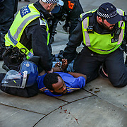 Blood stain is seen on the ground as the British mounted police officers arrested a homeless man, who claims to be a supporter of the BLM at Piccadilly Square, in central London, Saturday, June 13, 2020. British police have imposed strict restrictions on groups protesting in London Saturday in a bid to avoid violent clashes between protesters from the Black Lives Matter movement, as well as far-right groups that gathered to counter-protest.<br /> Anger against systemic levels of institutional racism has raged through the city, and worldwide; sparked by the death of George Floyd, who was killed in Minneapolis, US, by a policeman who restrained him with force on 25 May 2020. (Photo/ Vudi Xhymshiti)