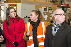 Pictured: Aileen Campbell, Depot manager Lynne Collie and Kevin Stewart<br /> <br /> Today, Communities Secretary Aileen Campbell was joined by Councillor Elena Whitham, Cosla Community Wellbeing Spokesperson, Kevin Stewart, Minister for Local Government, Housing and Planning and Jon Sparkes Chief Executive of Crisis as she visited Cyrenians' Good Food depot where she met staff at the depot and toured the facility which redistributes surplus food to not-for-profit organisations. <br /> <br /> Ger Harley | EEm 27 November 2018